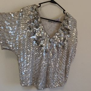 Vintage Silk and Sequin Top